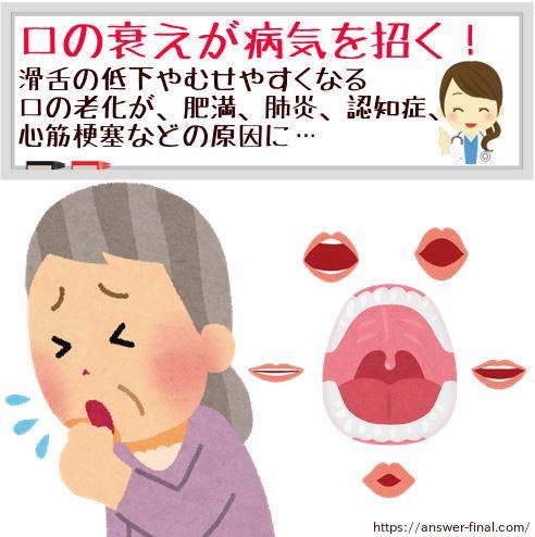 滑舌が悪い人むせる原因は口の衰え